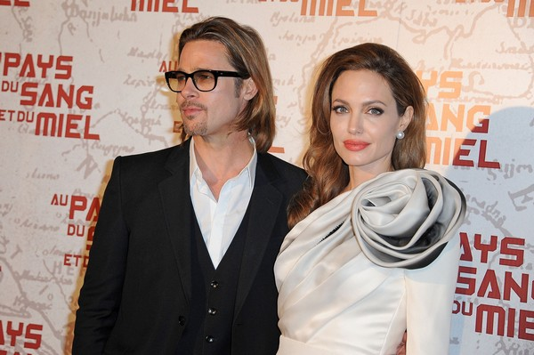 "Brad Pitt and Angelina Jolie attends the french premiere of the movie ""In The Land Of Blood And Honey"" held at the Cinema MK2 Bibliotheque, Paris"