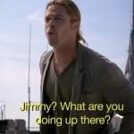Brad Pitt Yodeling On New York City Rooftop (VIDEO)