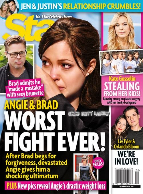 Angelina Jolie And Brad Pitt Fighting After Brad Caught Cheating With Sexy Brunette?
