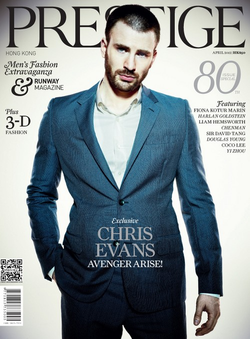 Yummy Chris Evans Covers Prestige Hong Kong's April 2012 Issue