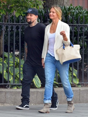 Exclusive... Lovestruck Couple Cameron Diaz and Benji Madden Hold Hands and Kiss in New York - NO INTERNET USE WITHOUT PRIOR AGREEMENT