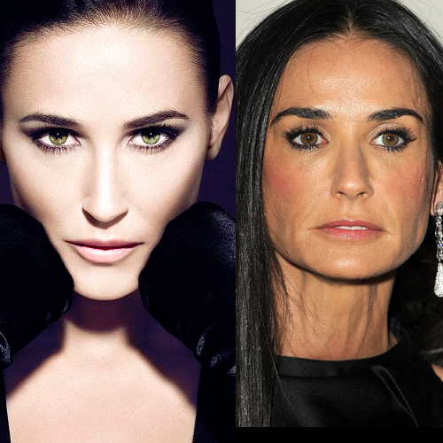 Demi Moore Photoshopped Beyond recognition for new Ad Campaign