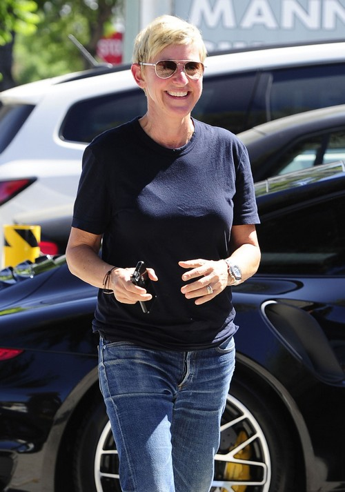 Ellen DeGeneres Stops By A Studio In West Hollywood
