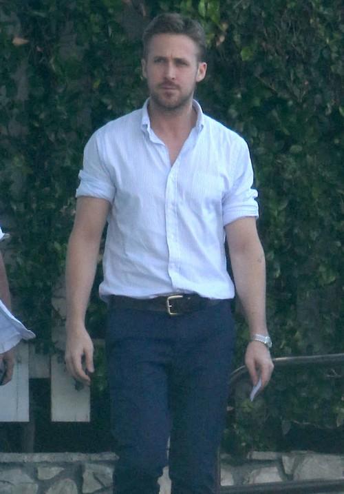 Semi-Exclusive... Ryan Gosling Leaving A Business Meeting In Los Angeles