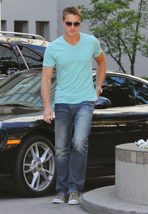 Exclusive... Justin Hartley Heading Out For A Cruise In His Porsche