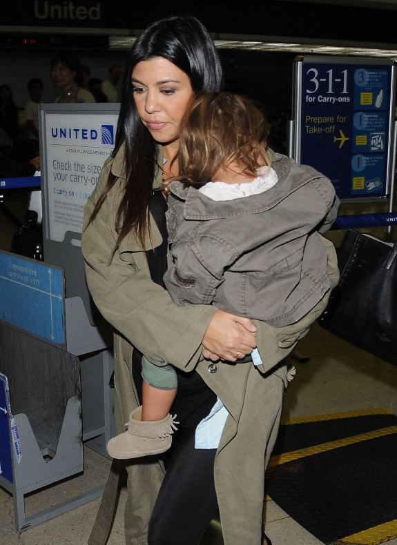 Pregnant Kourtney Kardashian & Her Kids Arriving On A Flight At LAX