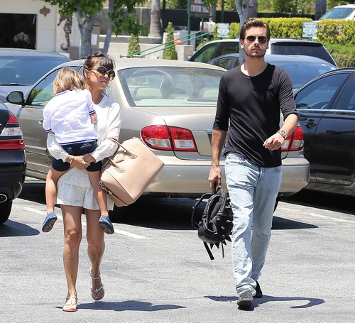 Kourtney Kardashian Out And About With Her Family