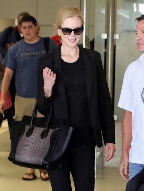 Nicole Kidman Arriving On A Flight At LAX