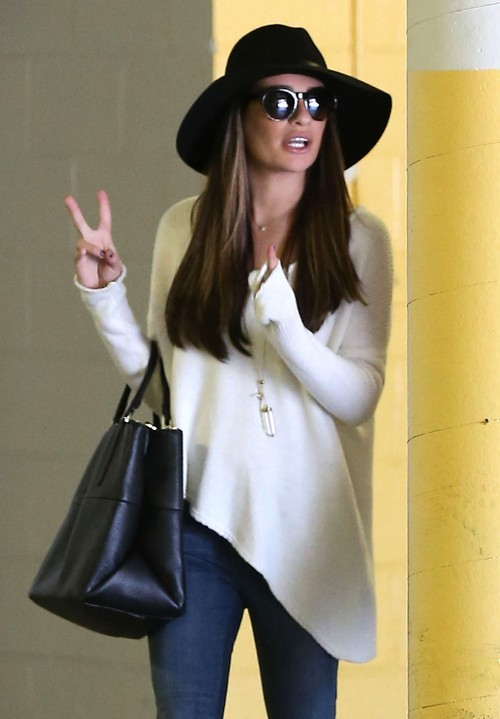 Lea Michele Leaving An Office Building In Los Angeles