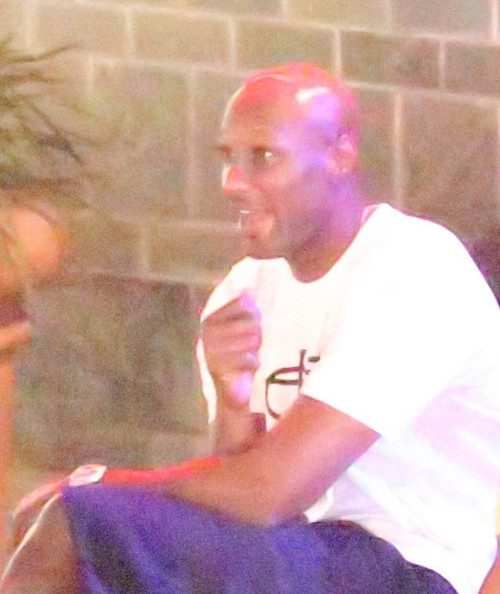 Exclusive... Lamar Odom & His Entourage Hanging Out At A Bar
