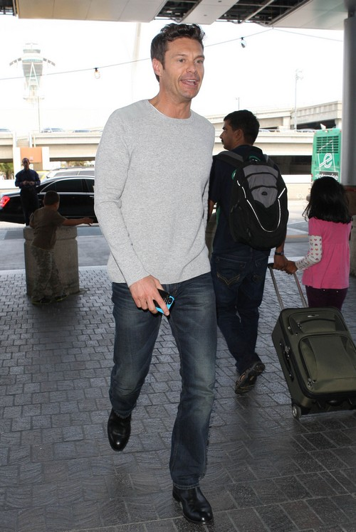 Ryan Seacrest Departing On A Flight At LAX