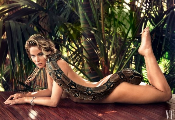 Jennifer Lawrence Poses Naked With Boa Constrictor Photo