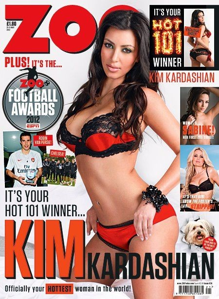 Kim Kardashian Covers Zoo Magazine UK In her Underwear (Photo)