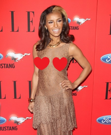 Pussycat Doll Melody Thornton Wears a See Thru Dress &amp; No Bra (Photos)