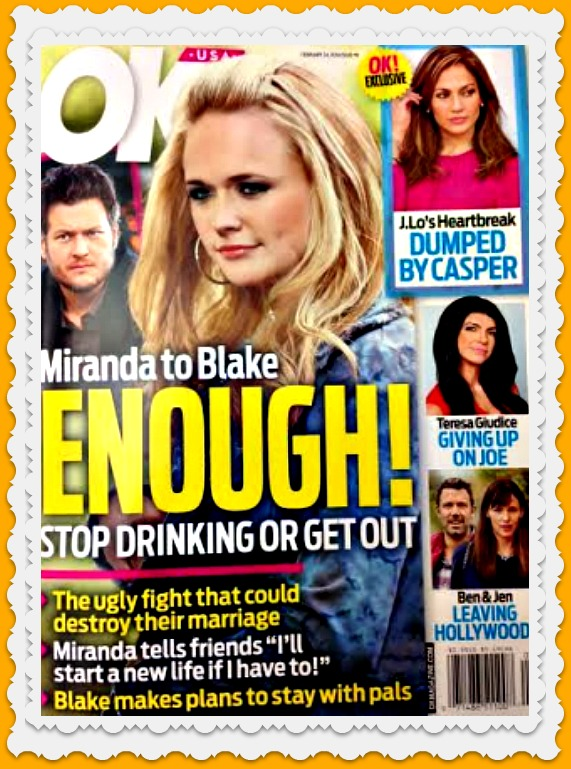 Miranda Lambert Gives Blake Shelton Ultimatum: Stop Drinking Or It's Over!