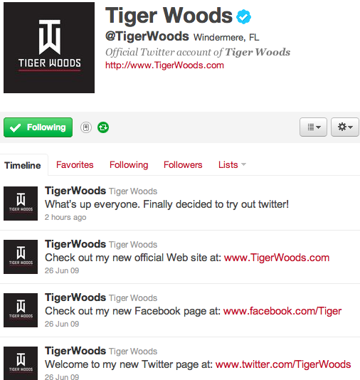 Tiger Woods Has Joined Twitter