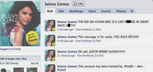 Selena Gomez Twitter AND Facebook Get Hacked – VIDEO