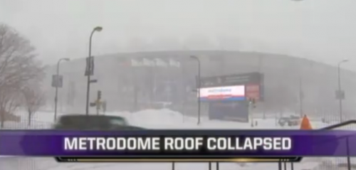 Minnesota Vikings Metrodome Collapse – Massive Damage – VIDEO