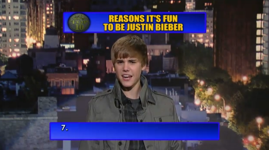 Justin Bieber does David Letterman Top 10 List