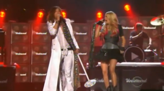 Carrie Underwood and Steven Tyler ACM 2011