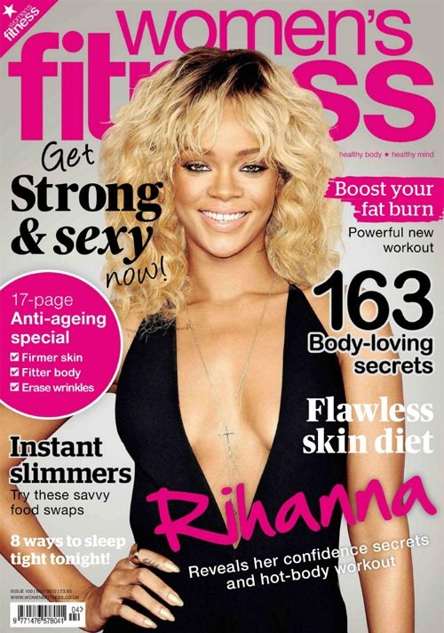 Rihanna Flashes Cleavage On Women's Fitness UK May 2012 (Photo)