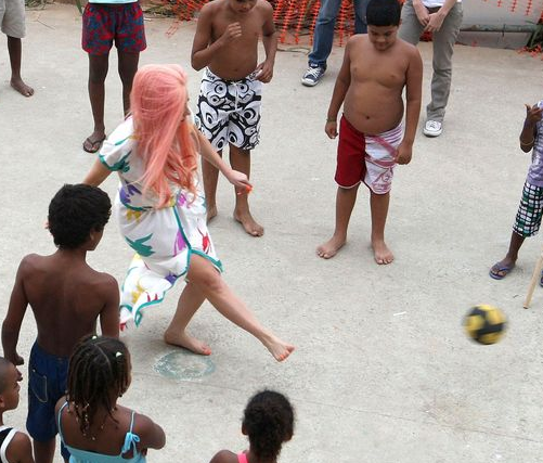 Lady Gaga Plays Football With Children In Rio de Janeiro – (PHOTOS)