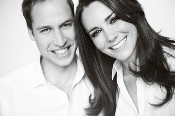Prince William and Kate Middleton Black and White Portrait