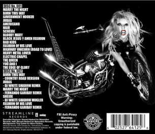 Lady Gaga Born This Way Deluxe Version - Back Coer Art - Track List