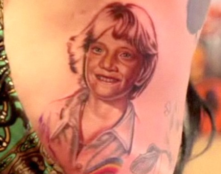 Kat Von D Side Tattoo of Jesse James' 5th Grade Face