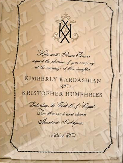 Kim Kardashian and Kris Humphries' Wedding Invitation