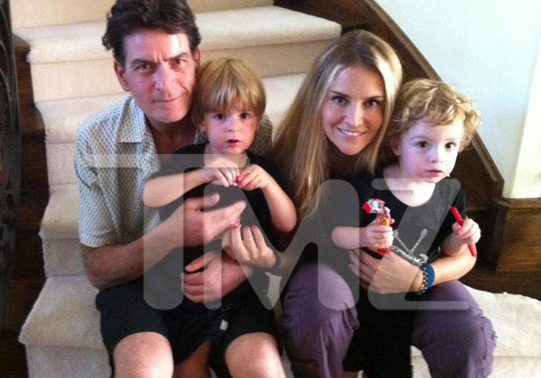 Charlie Sheen and Brooke Mueller Family Portrait