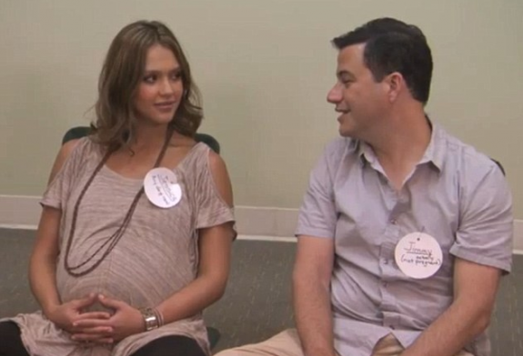 Jessia Alba and Jimmy Kimmel at Birth Class