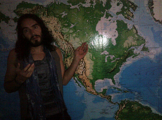 Russell Brand With Map