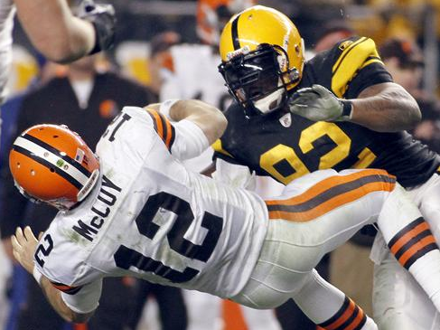 Steelers' James HArrison Putting the HURT on Colt McCoy