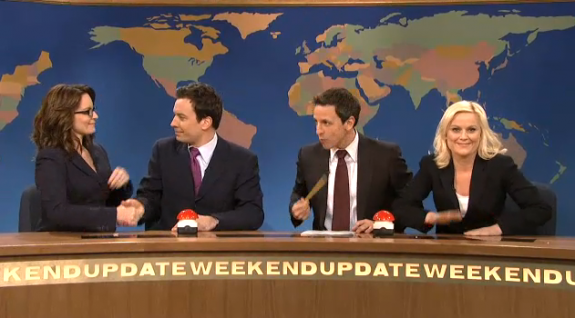 Jimmy Fallon, Tina Fey and Amy Poehler &#8216;Joke Off&#8217; on SNL With Seth Meyers VIDEO