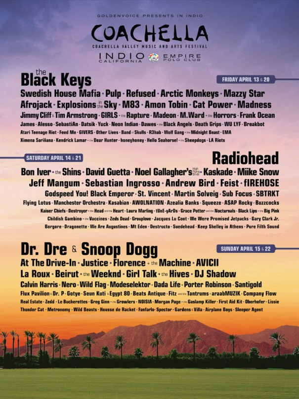 2012 Coachella Festival Lineup - Complete List