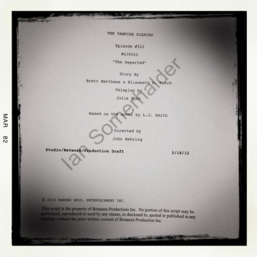 Ian Somerhalder Tweets Picture Of The Vampire Diaries Season 3 Finale Script (Photo)