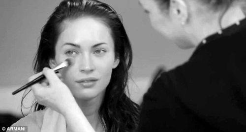 Megan Fox Lingerie Shoot For Armani Sans Makeup