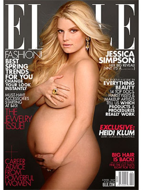 Jessica Simpson Covers Elle Magazine NAKED & PREGNANT (Photo)