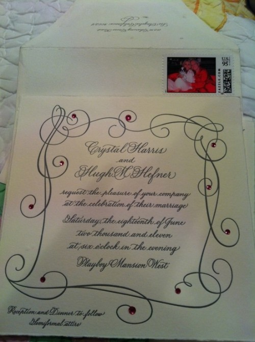 LOOK: Hugh Hefner and Crystal Harris Show Off Wedding Invites