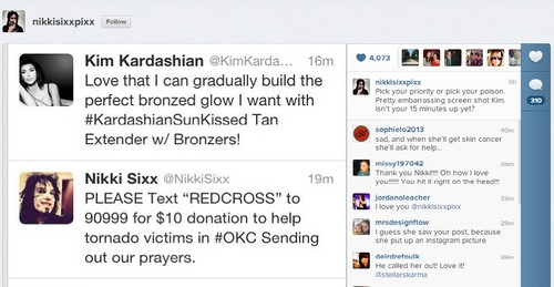 Nikki Sixx Calls Out Kim Kardashian For Tanning Plug During Tornado Crisis