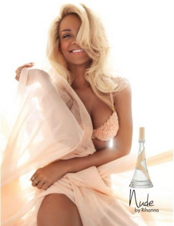 Back to Blonde: Rihanna Promotes New Fragrance &#8216;Nude&#8217; In Lingerie