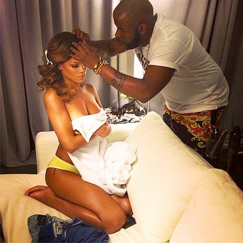 Rihanna Gets Her Hair Done Topless (Photo)