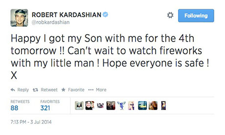 Rob Kardashian Secret Son Confirmed In July Fourth Twitter Post