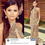 "Justin Bieber Still Loves Selena Gomez – Tweets Pic Of Her At Oscars And Calls Her An ""Elegant Princess"""