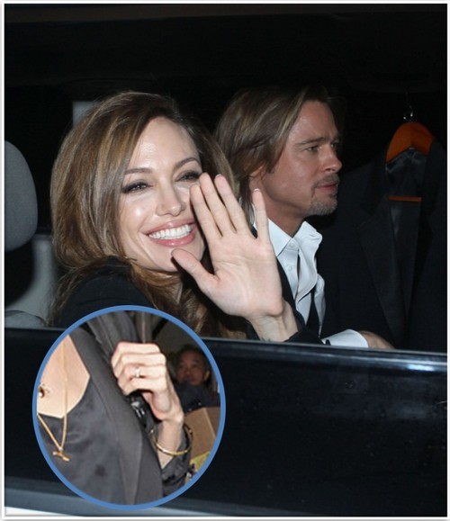 Angelina Jolie Picture With Wedding Ring - Did Angie and Brad Pitt Get Married?