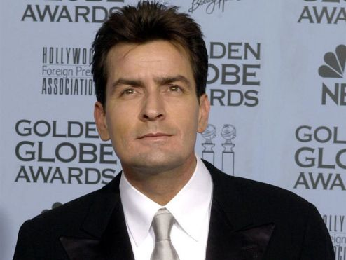 Charlie Sheen at the Golden Globes