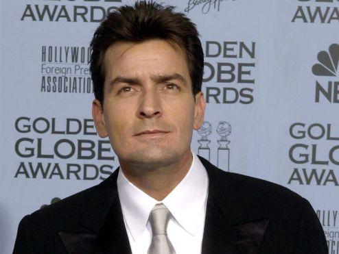 Charlie Sheen at the Golden Globes