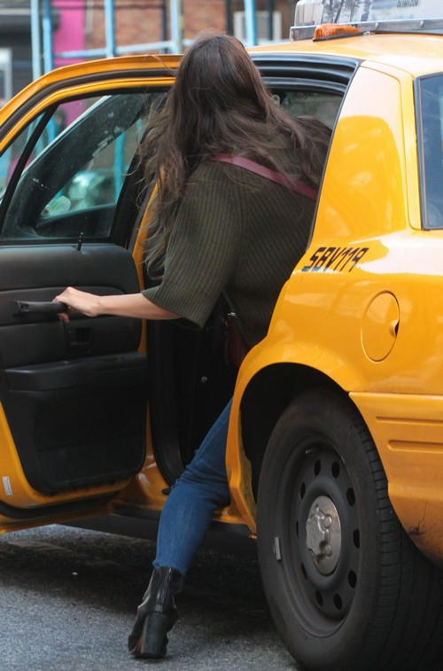 Katie Holmes Catches A Cab
