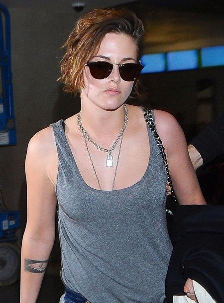 Kristen Stewart Arriving On A Flight At LAX